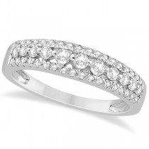Three-Row Prong-Set Diamond Wedding Band in 18k White Gold (0.43ct)