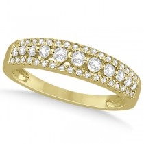 Three-Row Prong-Set Diamond Wedding Band in 18k Yellow Gold (0.43ct)