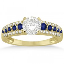Three-Row Blue Sapphire Diamond Engagement Ring 18k Yellow Gold 0.55ct