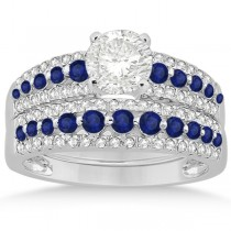 Three-Row Blue Sapphire & Diamond Bridal Set 14k White Gold (1.18ct)