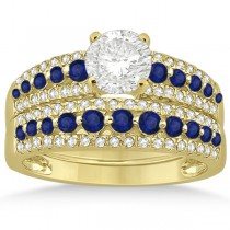 Three-Row Blue Sapphire & Diamond Bridal Set 14k Yellow Gold (1.18ct)