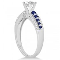 Three-Row Blue Sapphire & Diamond Bridal Set Platinum (1.18ct)