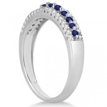 Three-Row Blue Sapphire & Diamond Wedding Band 14k White Gold 0.63ct