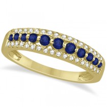 Three-Row Blue Sapphire & Diamond Wedding Band 14k Yellow Gold 0.63ct