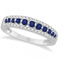 Three-Row Blue Sapphire & Diamond Wedding Band 18k White Gold 0.63ct