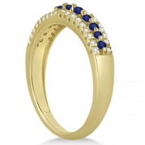 Three-Row Blue Sapphire & Diamond Wedding Band 18k Yellow Gold 0.63ct|escape
