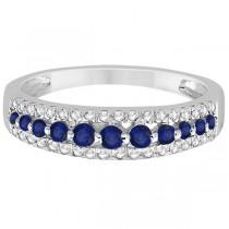 Three-Row Blue Sapphire & Diamond Wedding Band Platinum 0.63ct