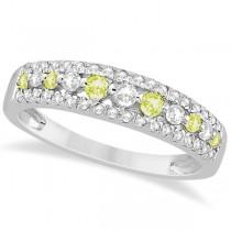 Three-Row Blue Yellow & White Diamond Wedding Band 14k White Gold 0.63ct