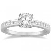 Channel Set Princess Cut Diamond Engagement Ring 14k White Gold (0.15ct)