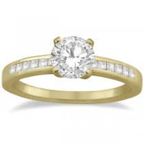 Channel Set Princess Cut Diamond Engagement Ring 18k Yellow Gold (0.15ct)