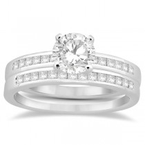 Channel Princess Cut Diamond Bridal Ring Set 18k White Gold (0.35ct)
