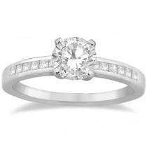 Channel Princess Cut Diamond Bridal Ring Set 18k White Gold (0.35ct)