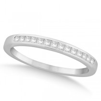 Channel Set Princess Cut Diamond Wedding Band 18k White Gold (0.20ct)