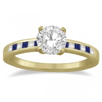 Princess Diamond & Blue Sapphire Engagement Ring 14k Yellow Gold (0.20ct)