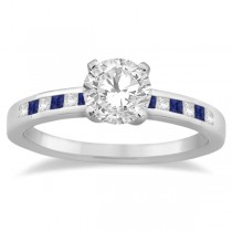 Princess Diamond & Blue Sapphire Engagement Ring 18k White Gold (0.20ct)