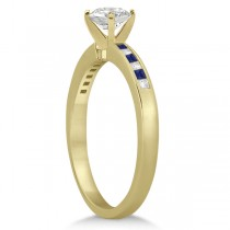 Princess Diamond & Blue Sapphire Engagement Ring 18k Yellow Gold (0.20ct)