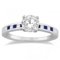 Princess Diamond & Blue Sapphire Engagement Ring Palladium (0.20ct)