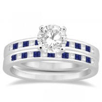 Princess Diamond & Blue Sapphire Bridal Ring Set 14k White Gold (0.54ct)