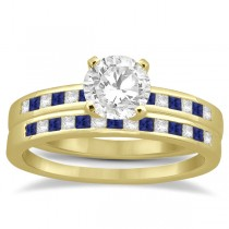 Princess Diamond & Blue Sapphire Bridal Ring Set 18k Yellow Gold (0.54ct)