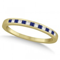 Princess Diamond & Blue Sapphire Wedding Band 14k Yellow Gold (0.34ct)