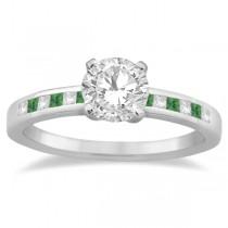 Princess Cut Diamond & Emerald Engagement Ring 18k White Gold (0.20ct)