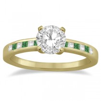 Princess Cut Diamond & Emerald Engagement Ring 18k Yellow Gold (0.20ct)