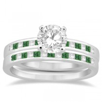 Princess Cut Diamond & Emerald Bridal Ring Set Palladium (0.54ct)
