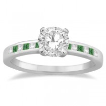 Princess Cut Diamond & Emerald Bridal Ring Set Platinum (0.54ct)