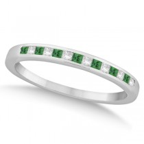Princess Cut Diamond & Emerald Wedding Band 14k White Gold (0.34ct)