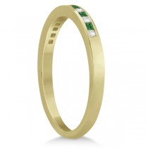 Princess Cut Diamond & Emerald Wedding Band 14k Yellow Gold (0.34ct)