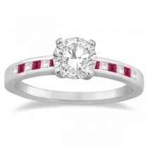 Princess Cut Diamond & Ruby Engagement Ring 14k White Gold (0.20ct)