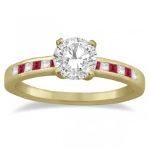 Princess Cut Diamond & Ruby Engagement Ring 18k Yellow Gold (0.20ct)