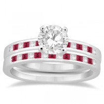 Princess Cut Diamond & Ruby Bridal Ring Set 18k White Gold (0.54ct)