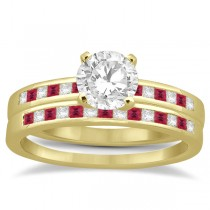 Princess Cut Diamond & Ruby Bridal Ring Set 18k Yellow Gold (0.54ct)