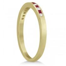 Princess Ruby Gemstone & Diamond Wedding Band 14k Yellow Gold (0.34ct)