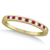 Princess Ruby Gemstone & Diamond Wedding Band 18k Yellow Gold (0.34ct)