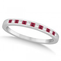 Princess Ruby Gemstone & Diamond Wedding Band Palladium (0.34ct)