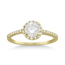 Petite Halo Diamond Engagement Ring Setting 14k Yellow Gold (0.25ct)