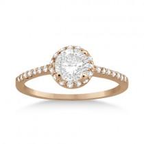 Petite Halo Diamond Engagement Ring Setting 18k Rose Gold (0.25ct)