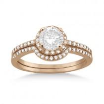 Petite Halo Diamond Engagement Ring & Band 14k Rose Gold (0.40ct)