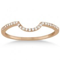 Contoured Band Pave Diamond Wedding Ring 14k Rose Gold (0.15ct)