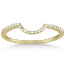 Contoured Band Pave Diamond Wedding Ring 14k Yellow Gold (0.15ct)