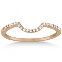 Contoured Band Pave Diamond Wedding Ring 18k Rose Gold (0.15ct)