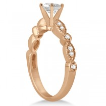 Petite Marquise & Dot Diamond Engagement Ring 14k Rose Gold (0.12ct)
