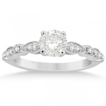 Petite Marquise & Dot Diamond Engagement Ring 14k White Gold (0.12ct)