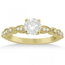 Petite Marquise & Dot Diamond Engagement Ring 14k Yellow Gold (0.12ct)