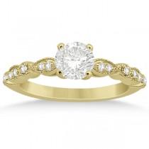 Petite Marquise & Dot Diamond Engagement Ring 14k Yellow Gold (0.12ct)
