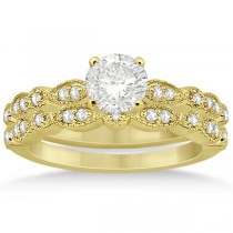 Petite Marquise & Dot Diamond Bridal Ring Set in 14k Yellow Gold (0.25ct)