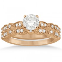 Petite Marquise & Dot Diamond Bridal Ring Set in 18k Rose Gold (0.25ct)