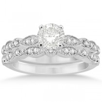 Petite Marquise & Dot Diamond Bridal Ring Set in 18k White Gold (0.25ct)